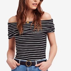 NWT Free People Melbourne Stripe Off The Shoulder